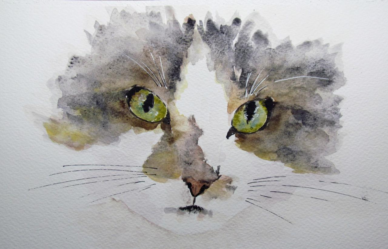 Regard de chat - Aquarelle vendue