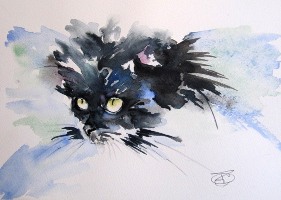 Regard de Chat  - (** aquarelle vendue **)
